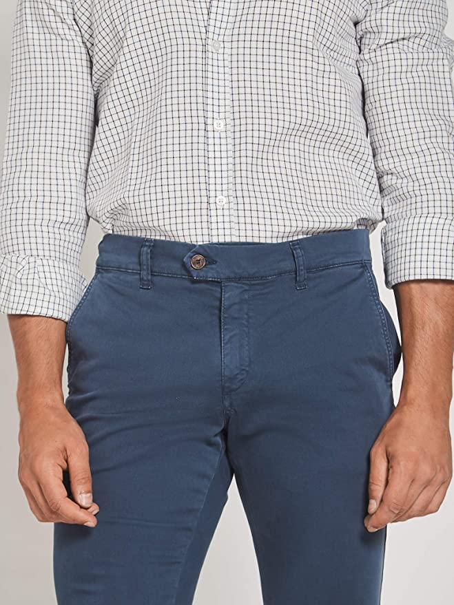 SILBON - Pantalon Sport Chino Azul Petroleo para Hombre ...