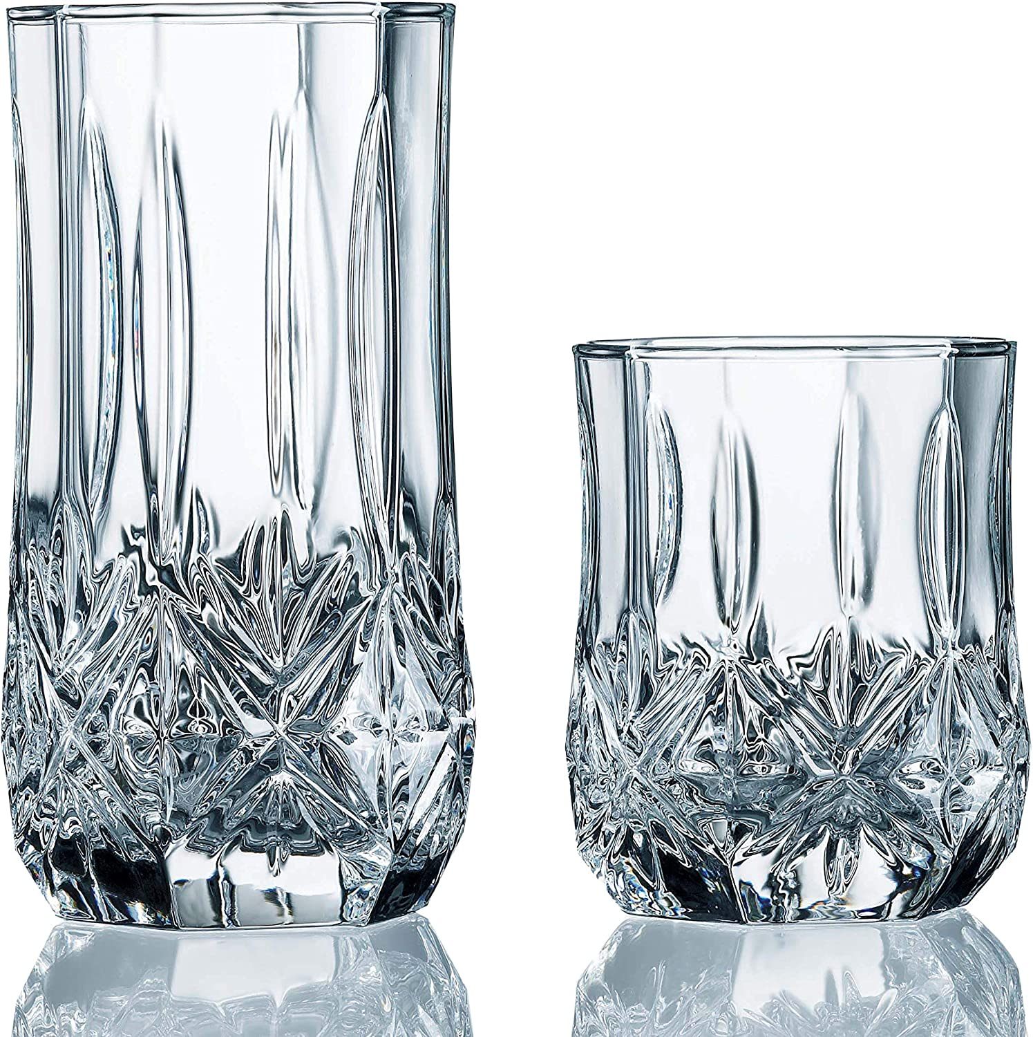 Luminarc Inventory cleanup selling sale 16-Piece Brighton Assorted Glass Tumbler Clear Set Time sale
