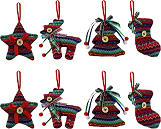 Bstaofy Wewill 3.5-Inch Knit Colourful Christmas Ornaments Tree Hanging Decoration 8PCS