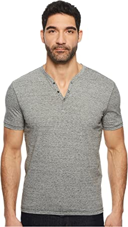 John Varvatos Star U.S.A. - Short Sleeve Henley with Pick Stitch Detail K3593U1B
