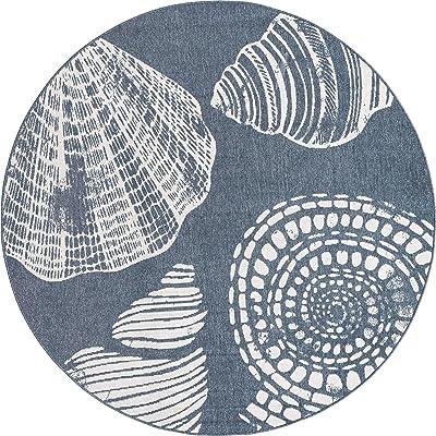 Unique Loom Outdoor Coastal Collection Modern Seashells Navy Blue Round Rug (7' 0 x 7' 0)