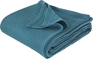 JMR Cozy Waffle Weave Blanket | Cotton Medium Weight Hotel Throw Blankets Great for All Seasons | Upgrade Your Home Decor with Hypoallergenic Soft Quilt for Bed, Couch & Sofa (Teal, King 108 x 90)
