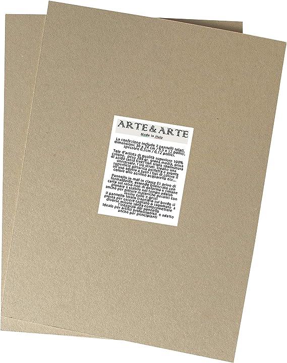 Arte /& Art Panneau en MDF avec toile /à peindre bois blanc 18x24 Blanc
