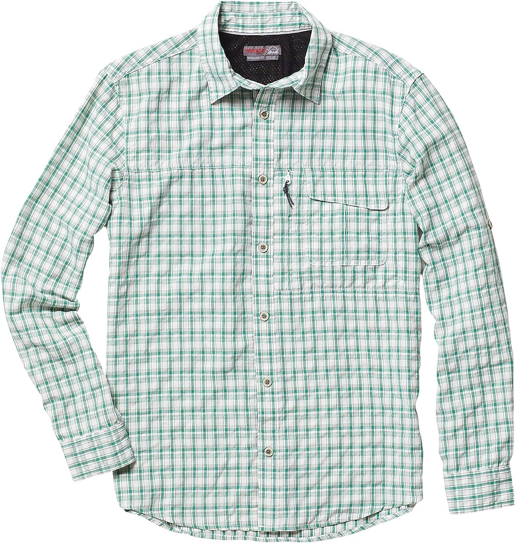 Wrangler Outdoor Men's Big and Tall Long Sleeve Utility Shirt, NSP93CG, Green/Grey/White Plaid