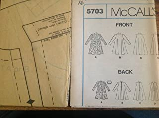 Mccalls Sew Pattern 5703 Misses 16, Headband & Tent Dress with Back Zip, in Cut-in Sleeveless or Long Sleeve