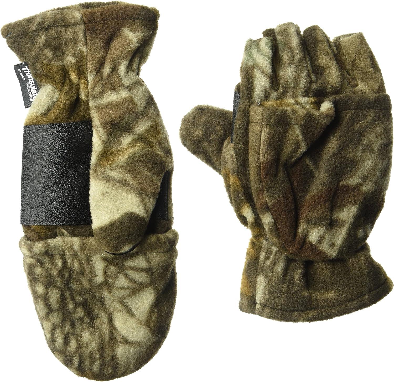 Muk Luks Men's Fleece Flip Mitten-adv Grey
