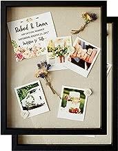 Shadow Box Display Case - Set of 2 Deep Wood & Glass Shadowbox Frame 11x14 with Linen Board - Wall-Hanging & Free-Standing - 3D Showcase Keepsake Art Graduation Baby Wedding Military Sport - Black