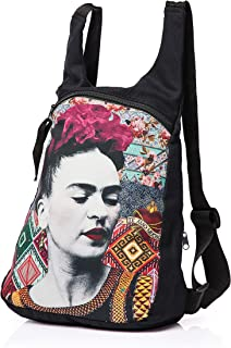 Akitai Frida Kahlo Portrait Black Canvas Printed Backpack Womens Purse Fashion Gypsy Bohemian Art Summer Ideas