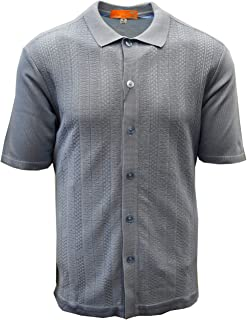Edition S Men's Short Sleeve Knit Shirt - California Rockabilly Style: Solid Jacquard