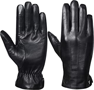 Mens Winter Genuine Leather Gloves - Acdyion Luxury Touchscreen Warm Driving Wool Lined Gloves