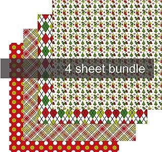 Christmas Pattern Heat Transfer Vinyl, Holiday Vinyl Sheets, 4-12