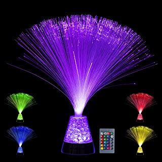 Playlearn Fiber Optic Lamp – Color Changing Crystal Base with Remote - USB/Battery Powered – 14 Inch Fiber Optic Centerpiece Sensory Light