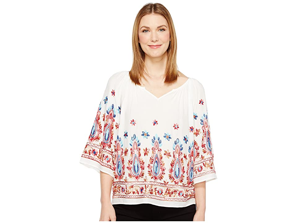 Karen Kane Embroidered Split Neck Top (Off-White) Women