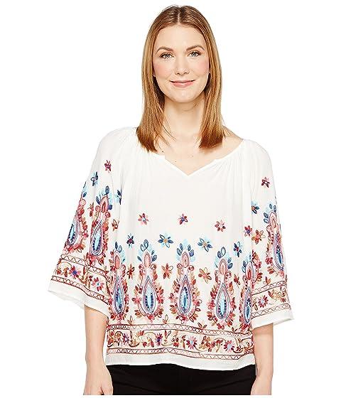 Neck Karen Kane Top Split Embroidered rqYwOYTz