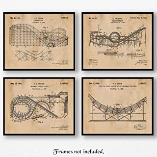 Original Roller Coaster Patent Art Poster Prints, Set of 4 (8x10) Unframed Photos, Great Wall Art Decor Gifts Under 20 for Home, Office, Garage, Man Cave, Shop, Student, Teacher, Coach, Theme Park Fan