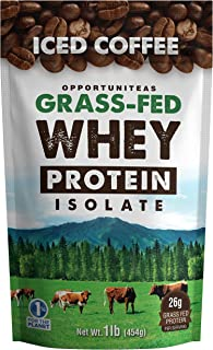 Coffee Protein Powder - Grass Fed Whey Isolate + Colombian Coffee - Delicious Workout & Exercise Supplement for Smoothie, Shake, or Drink - No Artificial Chemicals, Sweeteners, or Flavorings - 1 lb