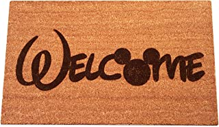 """Mickey Mouse Welcome Combined Laser Engraved Coir Fiber Doormat 30"""" x 18"""""""