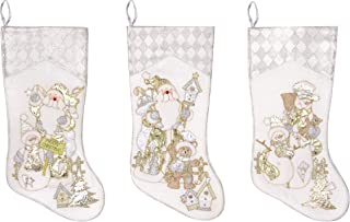 Prima Décor Embroidered Farmhouse Christmas Stockings Decor Set of 3 | Family and Kids Holiday Stockings with Santa and Snowman Appliqué Designs | Christmas Decorations Indoors |18