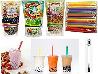 Wufuyuan - Tapioca Pearl (Black) - Net Wt. 8.8 Oz + multicolor pear + Green Tea Pearl + 50 Bubble Tea Straws + one ninechef Spoon Per order