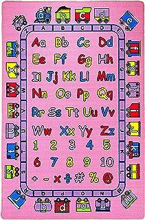 "Mybecca Kids Rug ABC Fun in Pink 3' X 5' Children Area Rug for Playroom & Nursery - Non Skid Gel Backing (39"" x 56"")"