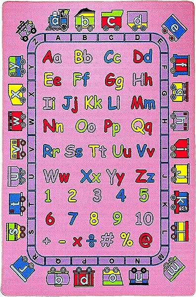 Mybecca Kids Rug ABC Fun In Pink 3 X 5 Children Area Rug For Playroom Nursery Non Skid Gel Backing 39 X 56