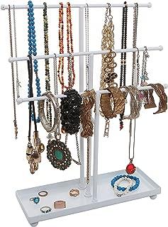 Modern White Metal 3 Tier Tabletop Bracelet & Necklace Jewelry Organizer Display Tree Rack w/Ring Tray