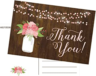 50 4x6 Rustic Floral Thank You Postcards Bulk, Modern Cute Flower Matte Blank Thank You Note Card Stationery For Wedding, ...