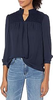Nanette Nanette Lepore Womens NW9F136B3 Solid Ls Notched Neck W/Smocked Yoke Long Sleeve Blouse - Blue