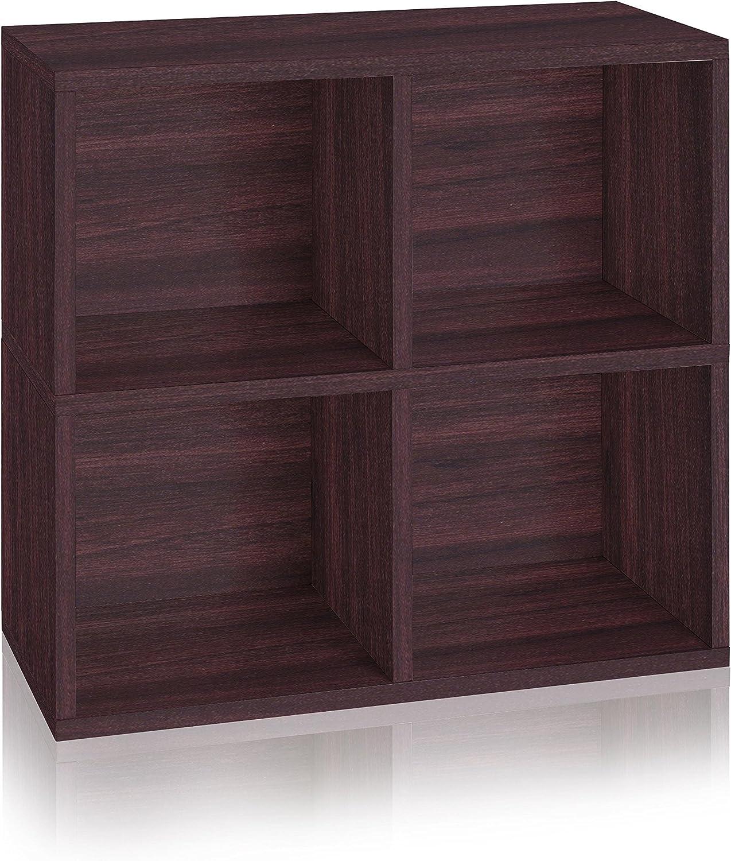Way Basics 4 Cubby Eco Bookcase, Stackable Organizer and Storage Shelf, Espresso