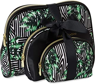 Adrienne Vittadini Cosmetic Makeup Bags: Compact Travel Toiletry Bag Set in Small, Medium and Large for Women and Girls - Western Palm