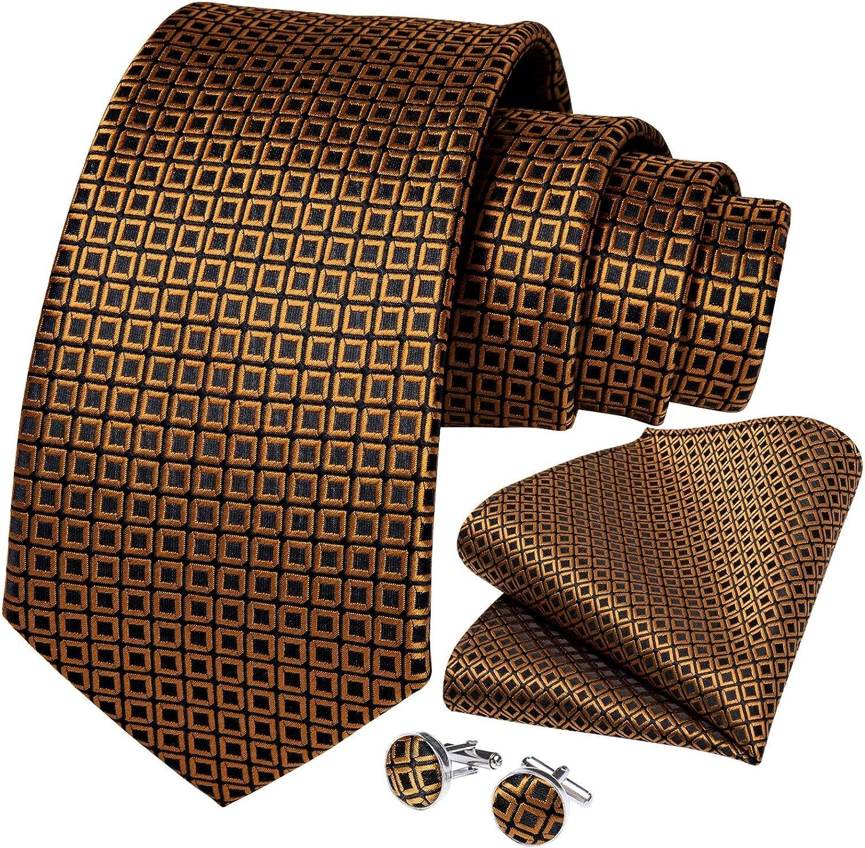 Neckties Set Gold Plaid Black Ties For Men Handkerchief Cufflinks Set Men' Gift Business Party Necktie Cravat