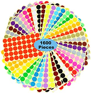 "1600 Dots 1"" Round Color Coding Labels Circle Dot Stickers,20 Colors Neon Color Coded Stickers Color-Coding Labels Label C..."