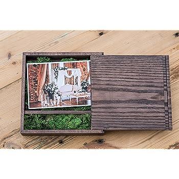 Caja de Madera (sin USB), Print & USB Flash Drive Box, Caja de Fotos Personalizada con Memoria Flash, Regalo de Boda, Caja de Prueba para fotografía (Dark Box with Moss): Amazon.es: Electrónica