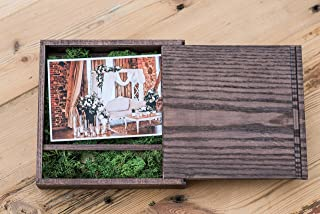 Caja de madera (sin USB), Print & USB Flash Drive Box, caja de fotos personalizada con memoria flash, regalo de boda, caja de prueba para fotografía (Dark box with moss)