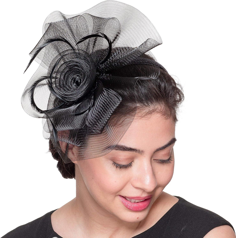 KaKyCo 5826H 10x9 Black Fascinators Cocktail Headband Crinoline Horsehair Flower Feathers Hair Comb for Derby Wedding Tea Party