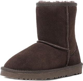 DREAM PAIRS Boys & Girls Toddler/Little Kid/Big Kid Shorty-k Winter Snow Sheepskin Fur Boots