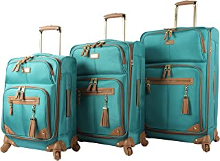 3 Piece Softside Spinner Suitcase Set Collection (One Size, Harlo Teal Blue)