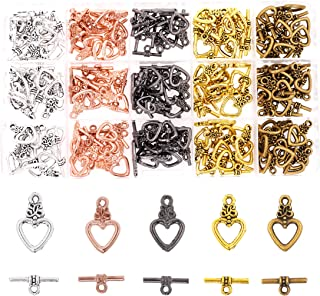 Mandala Crafts Toggle Clasp, T-Bar Closure from Metal for Jewelry Making in Bulk, Rose Gold, Bronze, Gunmetal, Silver, Gold Tone (Heart 0.8
