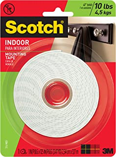 Scotch Brand 314 783961045463 Scotch Indoor Mounting Tape, 1-Inch x 125-Inches, 1-Roll (314P), White