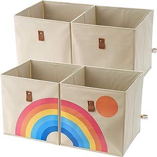 Lilyfish Collapsible Fabric Storage Cubes Organizer Bins With Handles| Rainbow Nursery Cube Storage Basket|12x 12 Inch Sto...