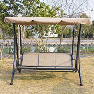 Bestmart INC Outdoor Canopy Swing Hammock 3 Seats Patio Deck Furniture & Amazon.com: Canopy - Porch Swings / Patio Seating: Patio Lawn u0026 Garden