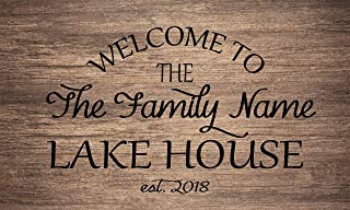 Welcome to The Lake House Family Name/Text Custom Personalized Non Slip Floor Door mat Entrance Doormat Rug Home Decor 23.6x15.7 inches