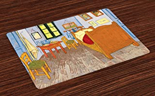 Ambesonne Art Place Mats Set of 4, Painting Style Room Interior with Bed Hanged Pictures Table and Chairs Near The Window, Washable Fabric Placemats for Dining Table, Standard Size, Blue Khaki