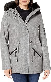 Women's Anorak Wool Faux Fur Trimmed Coat