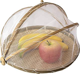 Woven Food Tent and Plate Serving Cover | Wicker Fruit Vegetable Bread Mesh Cover Storage Container for Dining Outdoor Pic...