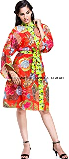 Cotton Floral Robe Women Bride Robe Dressing Gown Indian Wedding Kimono Robe