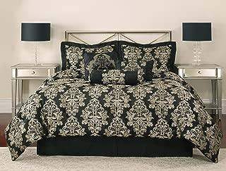 Mainstay Dalton Jacquard Bedding Comforter Set Blue/Chocolate King Size