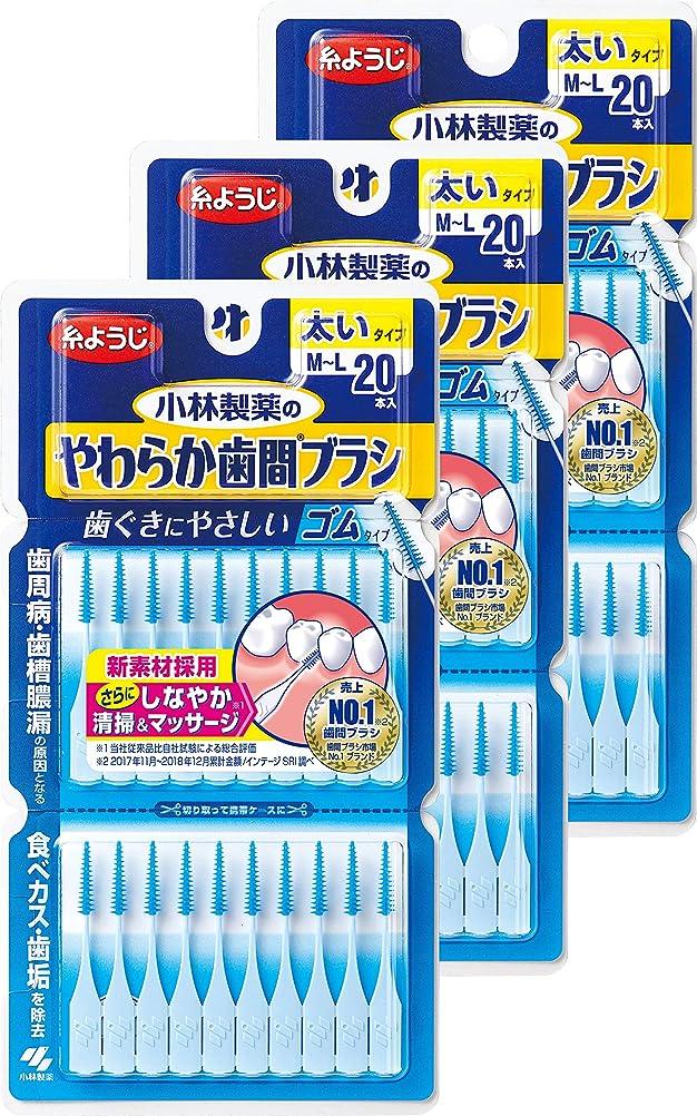 定規植生不信【まとめ買い】小林製薬のやわらか歯間ブラシ 太いタイプ M-Lサイズ 20本 ゴムタイプ×3個