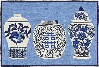 Liora Manne Front Porch Chinese Porcelain White Ginger Jars Blue Indoor/Outdoor Rug, 2' X 3'