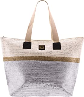 For Time Strandtasche mit Metallsteinen, Damenbast, 52 x 36 x 1 cm